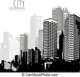panorama, text., posto, cityscape, nero, bianco, tuo