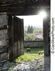 panorama, vecchio, legno, porta, aperto