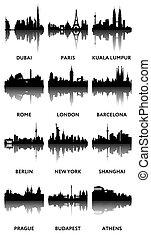 panorami, silhouette, città