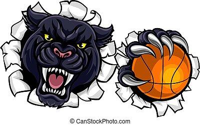 pantera, pallacanestro, nero, mascotte