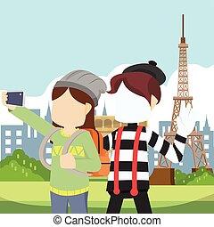pantomim, ragazza, selfie