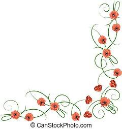 papaveri, fiori, angolo, rosso, composizione