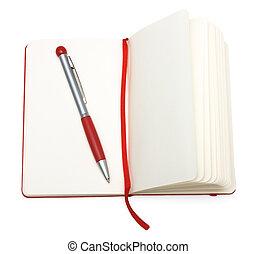 (paper), segnalibro, blocco note, penna, aperto, rosso