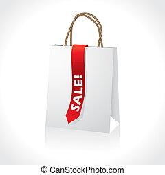 paperbag, bianco, shopping, nastro, rosso