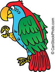 pappagallo, giallo, becco