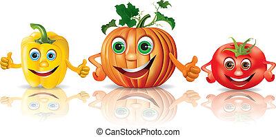 paprica, pomodoro, verdura, zucca, divertente