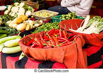 paprica, tradizionale, india., rosso, verdura, mercato