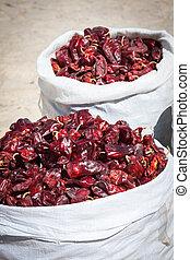 paprica, tradizionale, marocco, rosso, verdura, mercato
