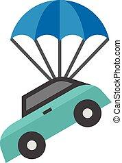 paracadute, appartamento, icona, -, automobile