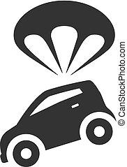 paracadute, automobile, bw, -, icone