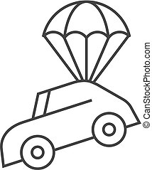 paracadute, automobile, -, contorno, icona