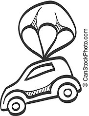 paracadute, automobile, schizzo, -, icona