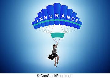paracadute, concetto, donna d'affari, assicurazione