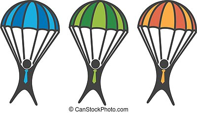 paracadute, sfondo bianco, uomo
