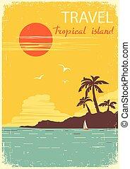 paradise., tropicale, sole, estate, isola, vettore, manifesto