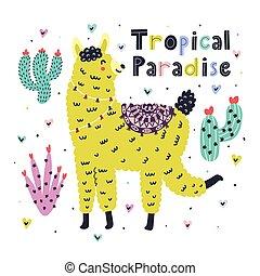 paradiso, divertente, stile, stampa, scheda, tropicale, alpaca, scandinavo, estate, llama., carino