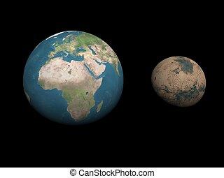 paragone, render, -, pianeti, marte, terra, formato, 3d