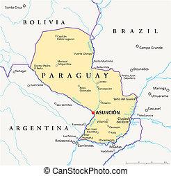 paraguay, mappa, politico