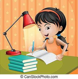 paralume, ragazza, scrittura