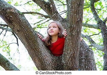 parco, albero, bambini, rampicante, ragazza, gioco, capretto
