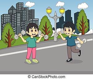parco, bambini giocando