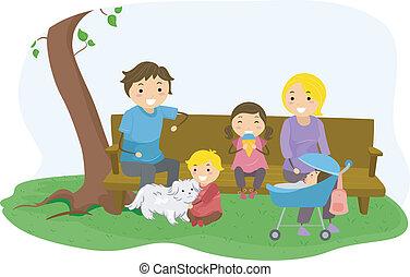 parco, bonding, stickman, famiglia
