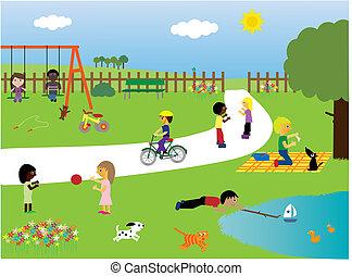parco, gioco, bambini
