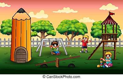parco, gioco, bambini, scena