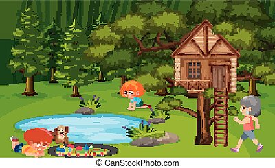 parco, scena, bambini giocando
