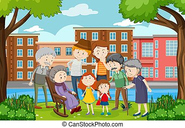 parco, scena, famiglia, esterno, membro