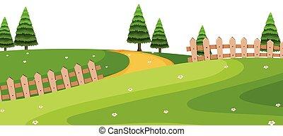 parco verde, scena, primo piano