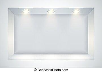 parete bianca, riflettore, nicchia