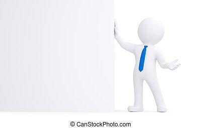parete, bianco, 3d, uomo, prossimo