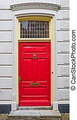 parete, bianco, porta, rosso