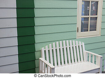 parete, bianco, sedia verde