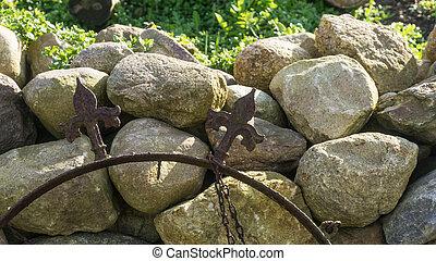 parete, campo, pietra, sole, giardino