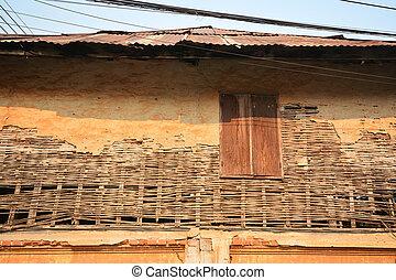 parete, casa, vecchio, finestra., legno