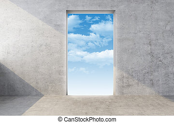 parete, cielo, concreto, porta