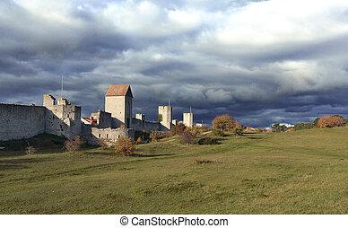parete, città, difesa, medievale