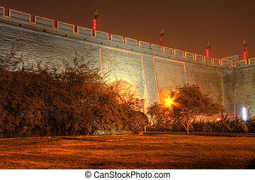 parete, città, esterno, xian