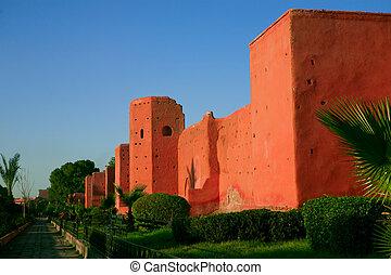 parete, città, marrakech, vecchio