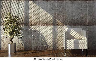 parete, concreto, disegno interno, poltrona