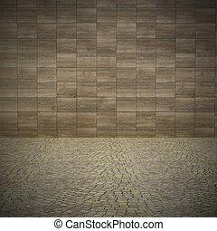 parete, concreto, marciapiede