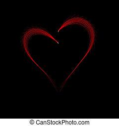 parete, cuore, sfondo nero