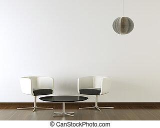 parete, disegno, interno, nero, bianco, mobilia