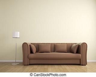 parete, divano, colorare, lampada, beige, interno, mobilia