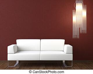 parete, divano, disegno, interno, bianco, bordeaux