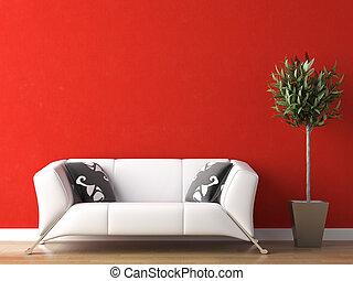 parete, divano, disegno, interno, bianco rosso
