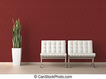 parete, due, disegno, interno, bianco, sedia, rosso