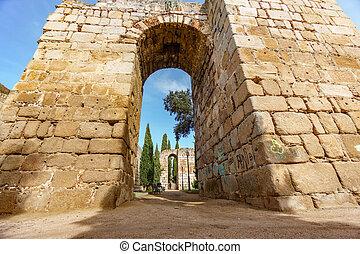 parete, enorme, pietra, merida, cittadella